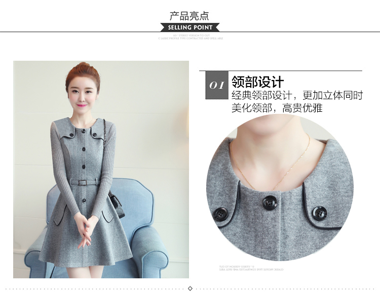 winter new round collar single-breasted cloth dress belt buttons A word women dresses Korean fashion outfit lady vogue vestido 9