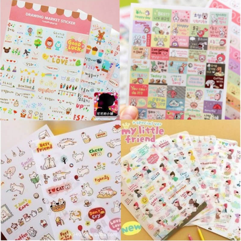 6 sheets/lot DIY Cute Kawaii Cartoon PVC Paper Stickers Red hat Girl Cat Rabbit For Kids Toys Gift Scrapbooking Stationery 10059