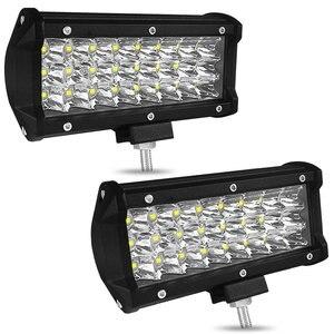 Image 1 - 7 Cal 72W trzy rzędy listwa świetlna Led samochodowe światło robocze dekoracja samochodu światła dzienne zmodyfikowane oświetlenie dachowe terenowe