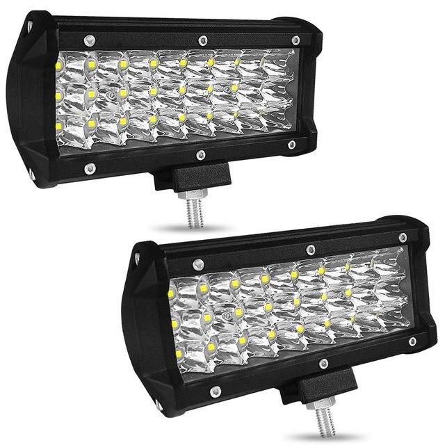 7 Cal 72W trzy rzędy listwa świetlna Led samochodowe światło robocze dekoracja samochodu światła dzienne zmodyfikowane oświetlenie dachowe terenowe