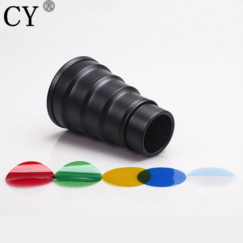 Pro High Quality 9.8cm Metal Snoot & Flash Honeycomb 4 Color Gel Filter For Compact Universal Studio Flash Light Hot Selling