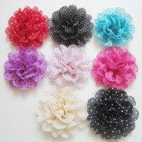 Wholesale Dot flower Chiffon lace Flowers without hair clip Fashionable headdress flower corsage 120pcs/lot Free Shipping