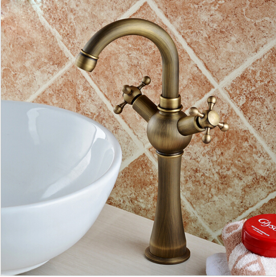 ФОТО New Arrivals Antique Bronze Finish 360 Degree Swivel Brass Bathroom Basin Faucet Sink Mixer kitchen Faucet with dual handles