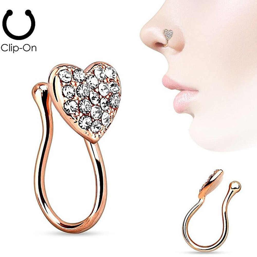 נירוסטה האף לב קליפ עגיל מזויף מחץ פירסינג גוף ללא פירסינג הרבעה תכשיטים אבזרים
