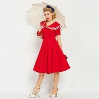 Sisjuly Vintage 1950s 60s Mid Calf Short Sleeve Red Women Sailor Collar Dress 2017 Hot Summer