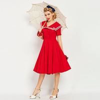 Sisjuly Vintage 1950s 60s Mid Calf Short Sleeve Red Women Sailor Collar Dress 2017 Hot Summer