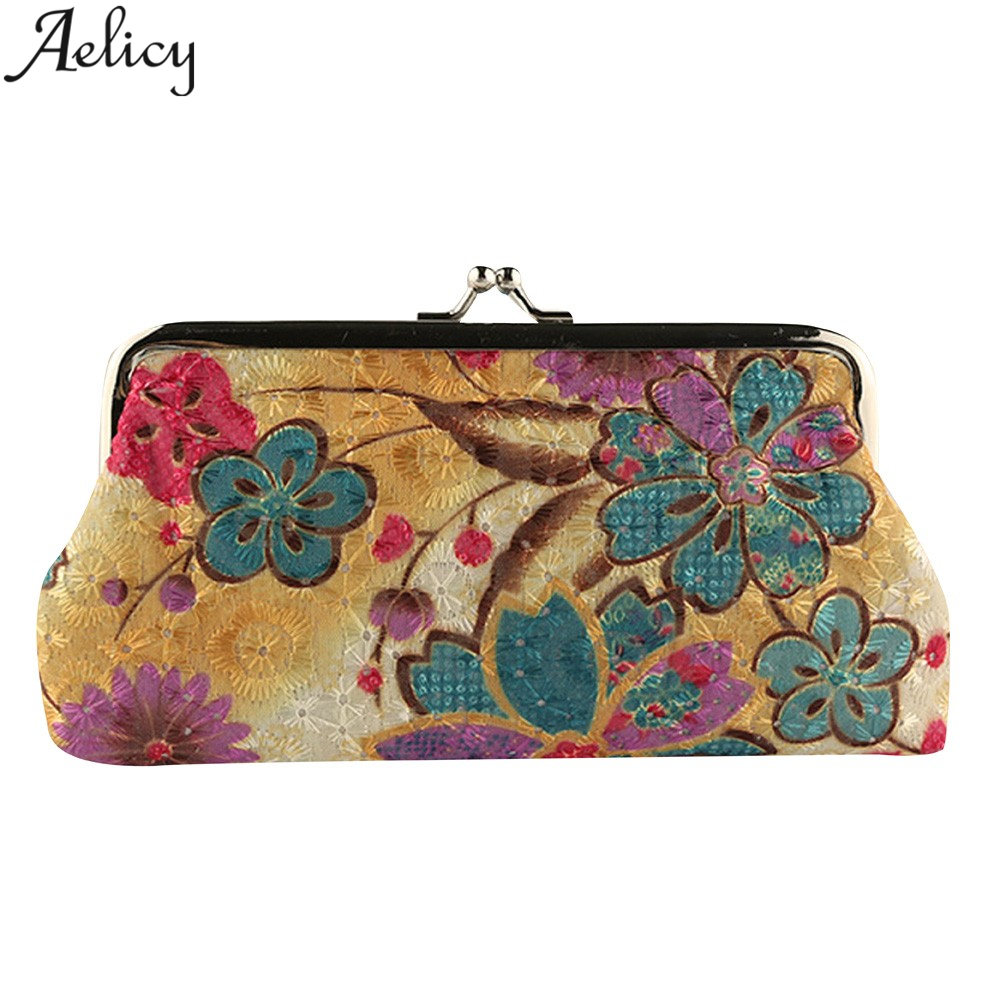 Aelicy Coin Purse Wallet Women Vintage Retro Flower Small Wallet Hasp Printing Floral Clutch Bag Good Gift Womens Purses