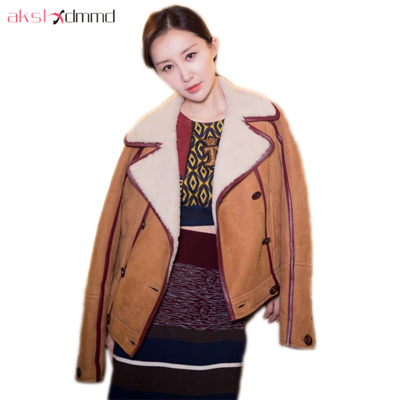AKSLXDMMD Fashion Suede Thick Cashmere Coat 2019 New Winter Women Jacket Thick Coat Female   Parkas   Mujer LH1301