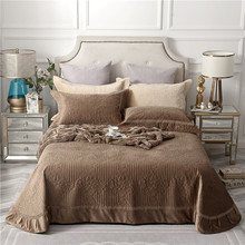 Brown Beige Gray High Quality Comfortable Flannel Cotton Blanket Thick Bedspread Bed Cover Sheet Linen Pillowcases 3pcs