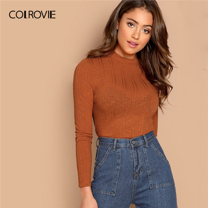 COLROVIE Orange Stand Collar Slim Fit Workwear Ribbed Top Women Basic Shirt 2019 Spring Long Sleeve Casual Office Ladies T-Shirt