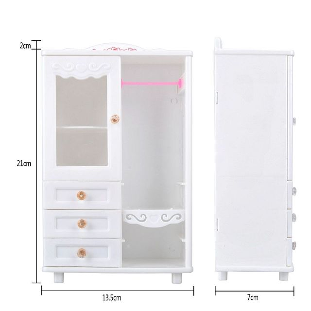 E-TING Sale Real Dollhouse For Barbie Furniture Lifestyle Plastic White Wardrobe Closet 10PCS Hanger Doll Accessories Toys Gift