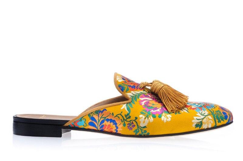 Mules men chinelos deslizamento on apartamentos borlas de seda sapatos casuais artesanais masculinos amarelo interior ao ar livre - 3