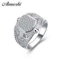 AINOUSHI 925 Sterling Silver Men Wedding Engagement Rings Sona Male Silver Accessaries Birthday Party Rings Lover Jewelry Gifts