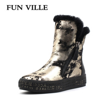 FUN VILLE New Fashion Woman Snow Boots Gold Silver Real Fur Wool Ankle Boots Warm Winter