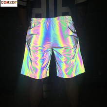 New arrival men women colorful reflective shorts hip hop streetwear workout night joggers club dance shiny sportswear shorts original new arrival 2018 puma ess sweat shorts 9 men s shorts sportswear