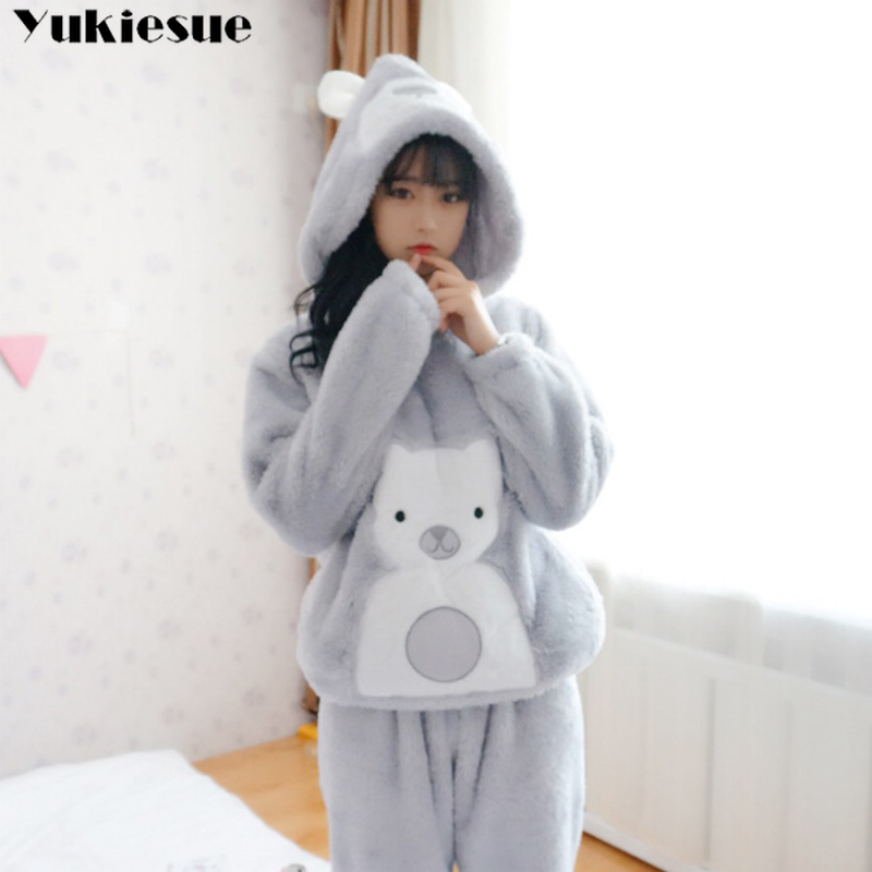 Long Sleeved Pant Women   Pajama     Sets   hooded Cartoon Animal O-Neck Warm Coral Velvet Women's Suit 2018 Winter Fashion Sleepwear