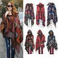 New Fashion Fringe Ethnic Geometric Women's Batwing Cape Poncho Knit Top Cardigan Sweater Coat Hip Scarf Shawl Free Shipping