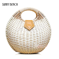 SUNNY BEACH brand new arrival fashion Handle Bags straw rattan bag summer shell bag Woven Square buckle Satchel bag