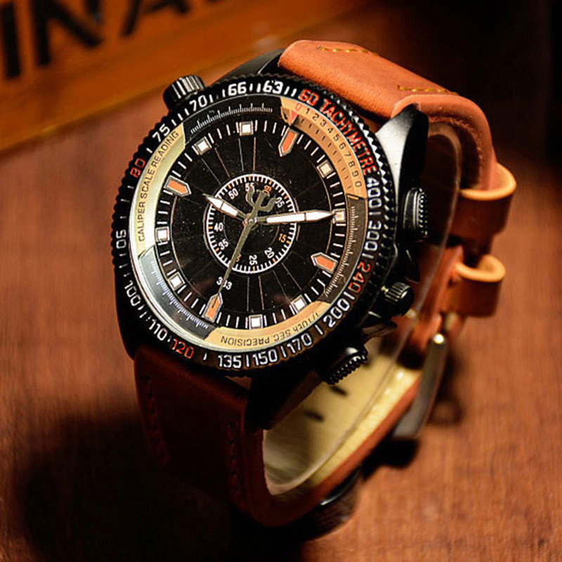 2017 Men Outdoor Sport Business Watch Big Dial Luminous Quartz Wristwatch Leather Strap Waterproof Man Army Military Watch Clock