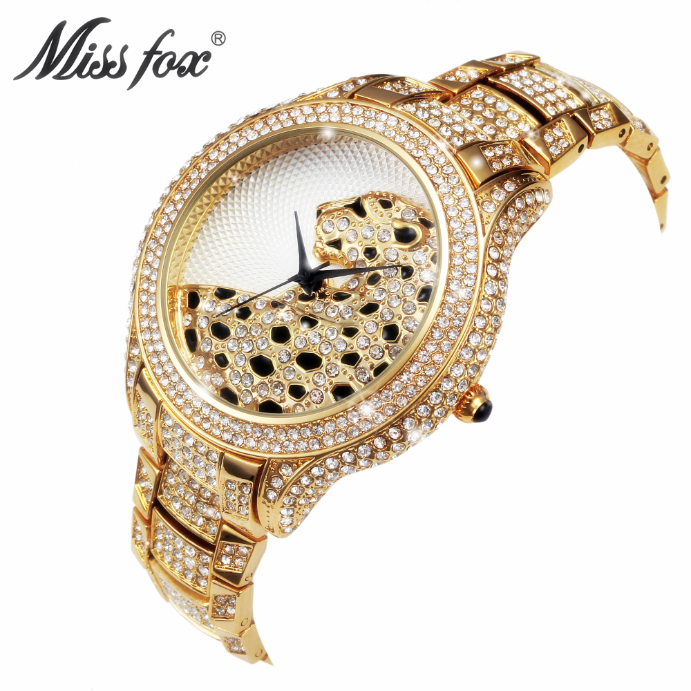 MISS FOX Brand Luxury 3D Leopard Women Quartz Watches Stainless Steel Ladies Watch Fashion Diamond Waterproof Wristwatch Relogio женская юбка brand new 2015 strawberry leopard 3d f e43