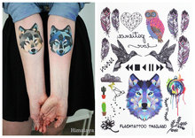 #393 The Best Selling Boho Style Temporary Body Tattoos Feather Owl Wolf Birds Heart Unisex Tattoo