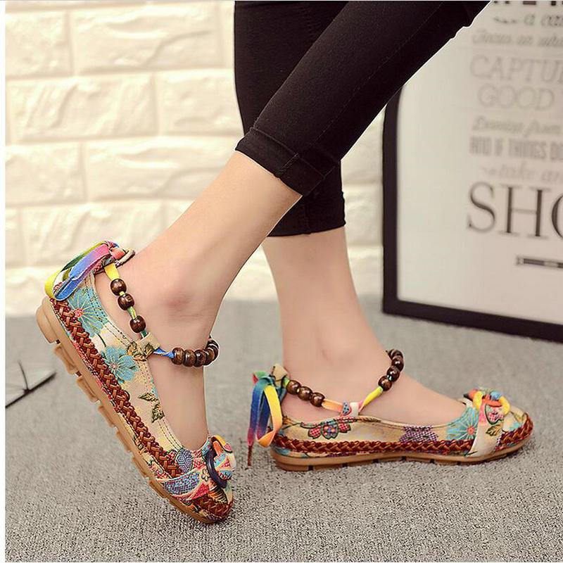 Plus size42 Casual Flat Shoes Women Flats Handmade Beaded Ankle Straps Loafers Zapatos Mujer Retro Ethnic Embroidered Shoes000 vintage flats shoes women casual cotton peacock embroidered cloth flat ankle buckles ladies canvas platforms zapatos mujer