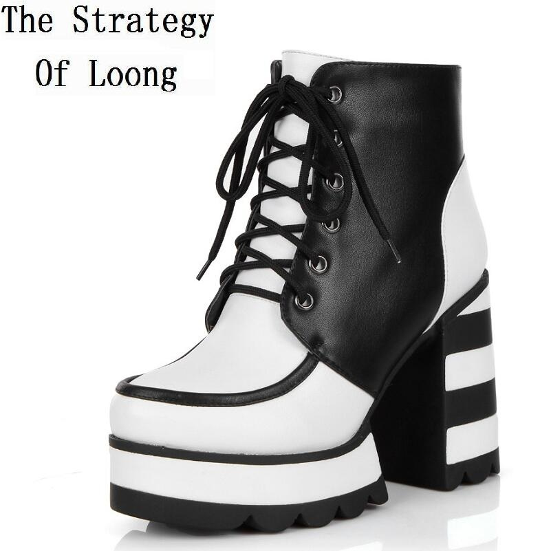 Women Winter Full Grain Leather Short Plush Thick Warm Lace Up High Heels Boots Genuine Leather Causal Lady Ankle Boots 1117 women patent leather lace up short plush thick warm ankle boots low heels fashion round toe no plush spring autumn boots 0221