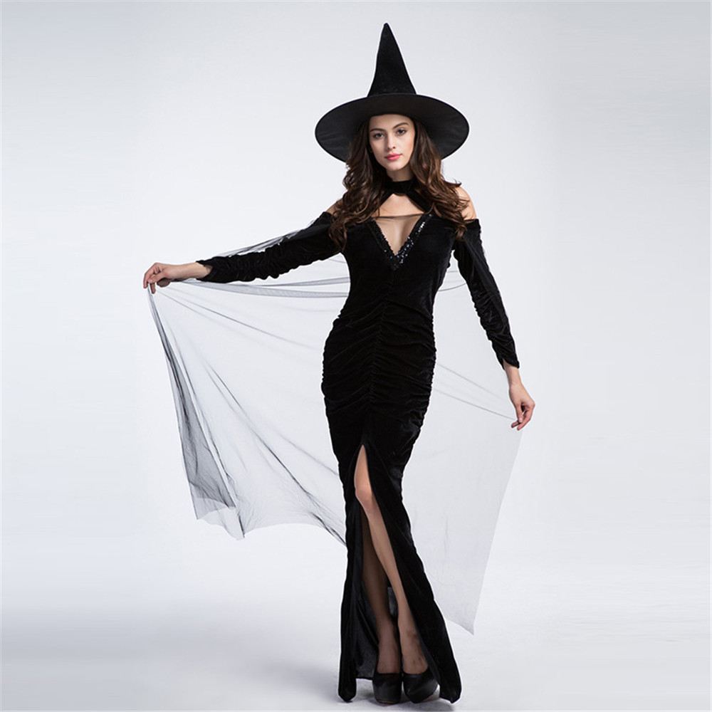 Women Sexy Vampire Costume Witch Dress Adult Gothic Queen Cosplay Fancy Dress for Carnival Halloween purim Costume