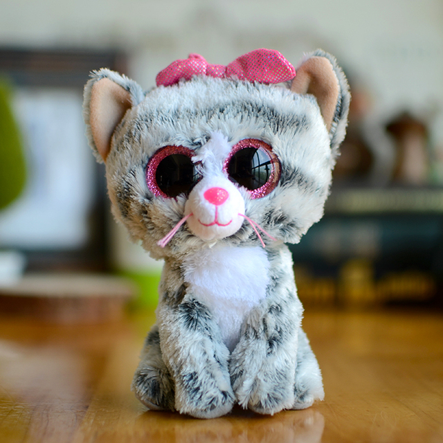 eb16bd5f275 New Ty Beanie Boos Kids Plush Toys Big Eyes Soft Kiki grey cat Lovely Girls  Gifts Kawaii Baby Cute Stuffed Animal Boys Dolls