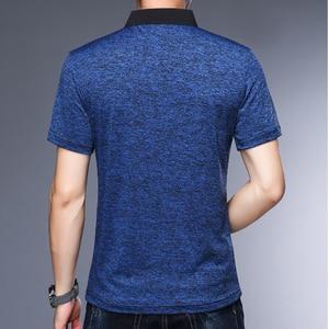 Image 2 - MIACAWOR polos de manga corta para hombre, camiseta lisa a la moda, ajustada, T748