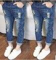 Ребенок рваные джинсы для мальчиков детей девушки дети малышей веселые резинкой банан брюки весна Detske плотно износ D01X31