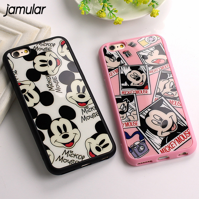 JAMULAR Cartoon Mickey Minnie Mouse Cases For iphone X 7 8 Plus 5s SE Silicone Mirror Cover Case For iphone 6s 8 7 Plus Covers