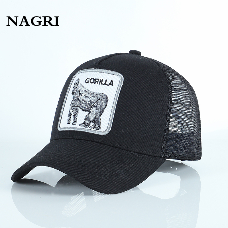 Gorilla Animal Embroidery   Baseball     Cap   for Men High Quality Mesh Breathable Summer animals Sports Trucker   Cap   Gorras animales