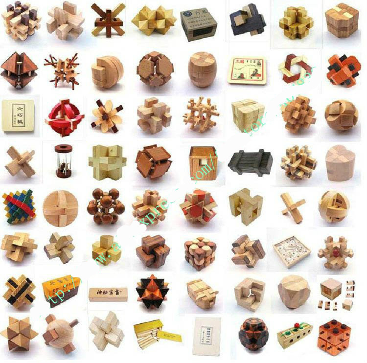 64PCS LOT Wood Puzzle Toys Classic IQ 3D Wooden Interlocking Burr Puzzles Mind Brain Teaser Game