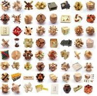 64 шт./лот деревянные головоломки игрушки Классический IQ 3D Деревянный блокировка Burr Пазлы разум Логические игры игрушки для взрослых детей