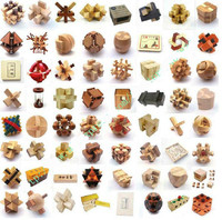 64PCS/LOT Wood Puzzle Toys Classic IQ 3D Wooden Interlocking Burr Puzzles Mind Brain Teaser Game Toy for Adults Children