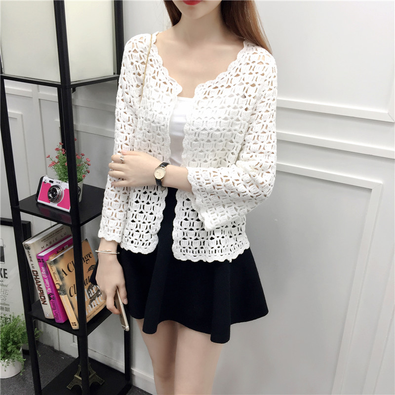Camisas Mujer 2017 Spring Summer Crochet White Lace Blouse Women Fashion Tops Sexy Hollow Out Knitted Cardigan Chemise Femme 3