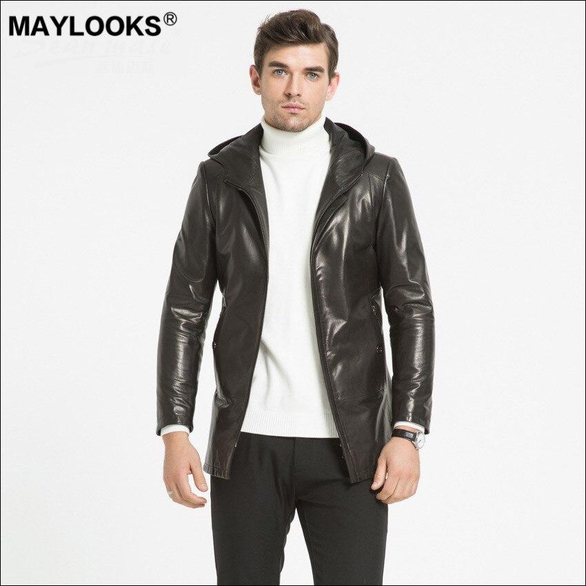 May Looks 2019 printemps et automne veste en cuir hommes Top cachemire manteau Long Slim Fit casquette unique peau WS123
