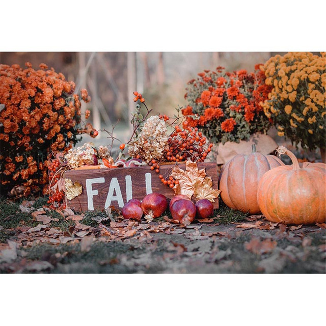 Us 9 18 38 Off Vinyl Halloween Backdrops Printed Flowers Maple Leaves Autumn Scenery Pumpkins Newborn Baby Kids Fall Photo Backgrounds Ha 258 In
