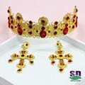Золото подражали Барокко стиль свадебная тиара и корона головной убор невесты ювелирные изделия волос красная корона студии корону королевы красоты