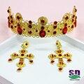 Ouro imitado estilo Barroco tiara e coroa cocar de casamento jóias noiva cabelo coroa vermelha estúdio de beleza da coroa da rainha
