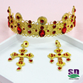 gold imitated Baroque style wedding tiara and crown headdress bride hair jewelry red crown studio beauty queen crown