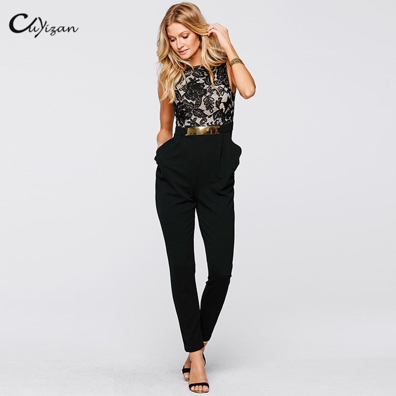 cuyizan elegant long jumpsuit women new spring summer casual ladies one piece outfits rompers. Black Bedroom Furniture Sets. Home Design Ideas