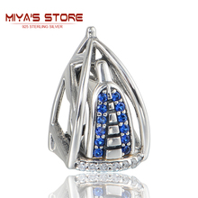925 Sterling Silver Jewelry Dubai Burj Al Arab 3D Charm With Blue Stone European Bracelets For Women GW Brand Jewellery X386