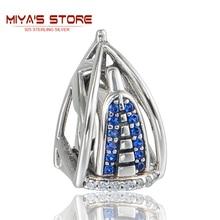 925 Sterling Silver Jewelry Dubai Burj Al Arab 3D Charm With Blue Stone European Bracelets For Women GW Brand Jewellery X386