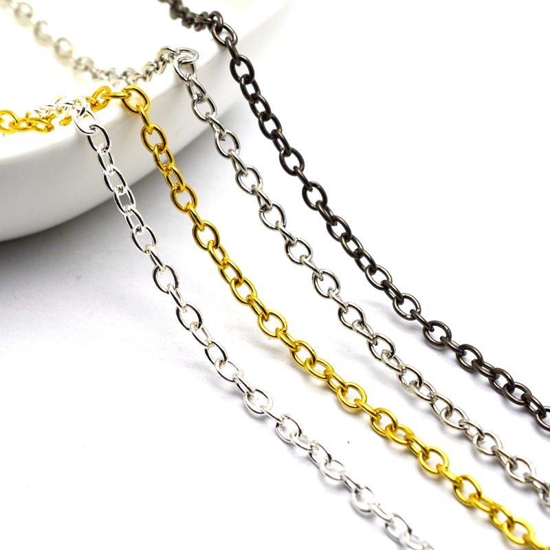 ILOVEDIY 5m Plated Silver Chain for Jewelry Making 3x2mm in Bulk Argent