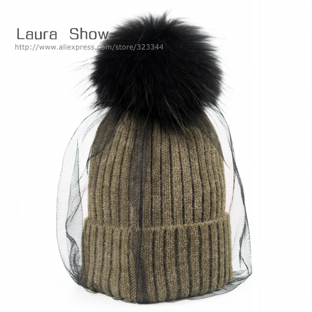 Top Quality New Fashion Lady Skullies Beanies Knit Wool Winter Hat Cap With Real Fur Pom pom Ball Women Wool Knitted Fur Hats колье ошейник none 1 x