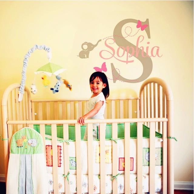 2016 Hot Personalized Name Wall Sticker Cute Elephant And ...
