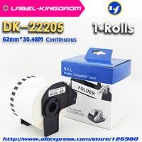 1 rolls compatível DK 22205 etiqueta 62mm * 30.48 m contínua compatível irmão impressora QL 570 QL 700 todos vêm com suporte plástico brother label printer brother ql-700 printer brother label -