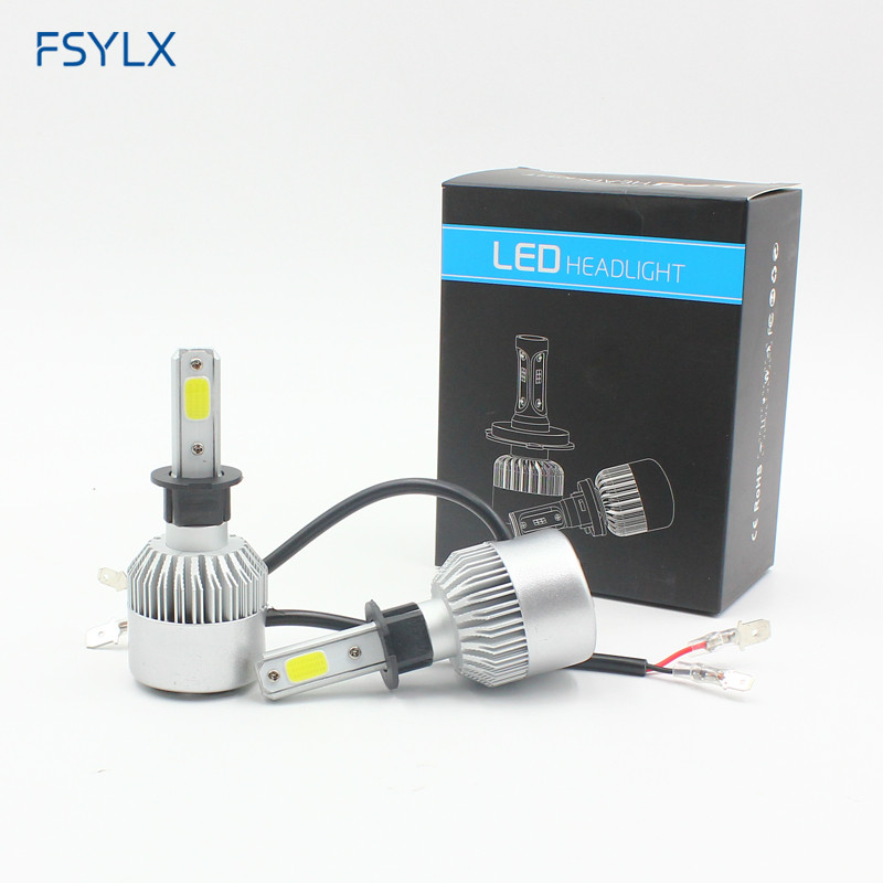 FSYLX 72 W 16000lm H1 LED Far H1 Araba LED gündüz sürüş sis farlarıDRL H1 H3 9012 hir2 9005 H11 880 LED Far Far